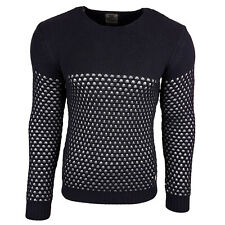 Subliminal Mode - Pull homme col rond - Tricot grosse maille - Col a ras du cou