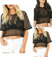 Ladies Round Neck Sheer Mesh Crop Top Women Short Sleeve See Through Fishnet Top