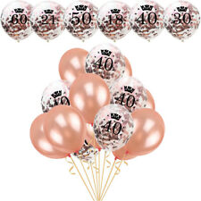 """12"""" 21st 18/30/40/50/60th Confetti Filled Balloons Happy Birthday Weeding Party"""