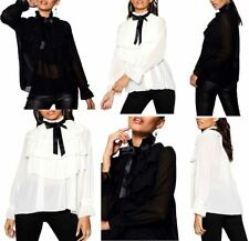 Womens Long Sleeve Sheer Frill Layered Top Ladies High Neck Pussy Bow Tie Top