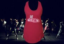 LOVE DANCE sparkle design on a Ladies Moca workout Tank Top in Pink