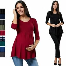 Happy Mama. Women's Maternity Empire Waist Line Blouse Top 3/4 Sleeve. 566p