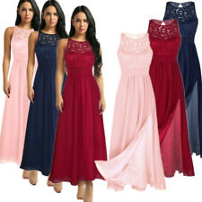 Women Slit Lace Formal Wedding Bridesmaid Evening Party Ball Gown Cocktail Dress