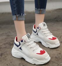 Women's Chunky Trainers Platform Thick Sole Sneakers Running Mesh Lace Up Shoes