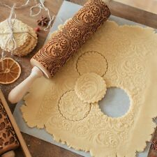 Flower Wooden Rolling Pin Embossing Baking Cookies Biscuit Fondant Christmas