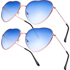 fc458f7d29f1 2 Pairs Hippy Specs Glasses Heart Shaped Sunglasses for Hippie Fancy Dress  Acces