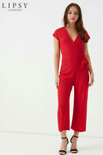 New LIPSY Red Ribbed Wrap Neck Short Sleeve Belted Crop Trouser Jumpsuit 14 16