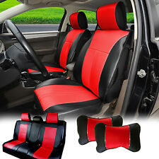 20955 Full Black/Red PU Leather 5 Car Seat Covers Cushion Front Rear Sedan SUV