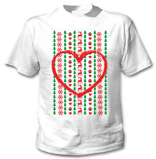 CHRISTMAS LOVE HEART - NEW COTTON WHITE TSHIRT