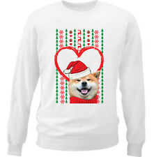 AKITA MERRY CHRISTMAS HEART PATTERN - NEW WHITE COTTON SWEATSHIRT