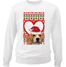 BEAGLE CHRISTMAS PATTERN HEART 1 - NEW WHITE COTTON SWEATSHIRT