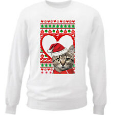 CAT CHRISTMAS PATTERN HEART 21 - NEW WHITE COTTON SWEATSHIRT