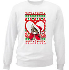 CAT CHRISTMAS PATTERN HEART 1 - NEW WHITE COTTON SWEATSHIRT