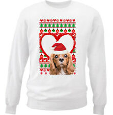 CHARLES SPANIEL CHRISTMAS PATTERN HEART 1 - NEW WHITE COTTON SWEATSHIRT