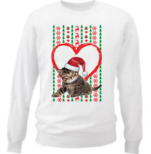 KITTY CAT 2  MERRY CHRISTMAS HEART PATTERN - NEW WHITE COTTON SWEATSHIRT