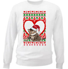 KITTY CAT CHRISTMAS PATTERN HEART 1 - NEW WHITE COTTON SWEATSHIRT