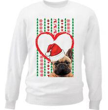 MERRY CHRISTMAS HEART PATTERN FRENCH BULLDOG - NEW WHITE COTTON SWEATSHIRT