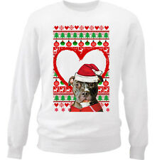 PITBULL CHRISTMAS PATTERN HEART 1 - NEW WHITE COTTON SWEATSHIRT