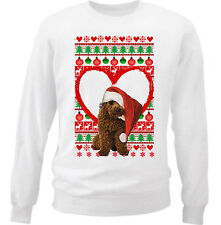 POODLE  CHRISTMAS PATTERN HEART 1 - NEW WHITE COTTON SWEATSHIRT