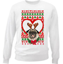 PUG FUNNY CHRISTMAS PATTERN HEART 1 - NEW WHITE COTTON SWEATSHIRT