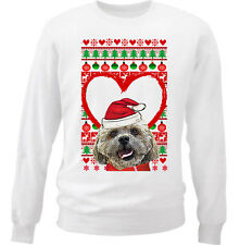 SHIH-TZU CHRISTMAS PATTERN HEART 1 - NEW WHITE COTTON SWEATSHIRT