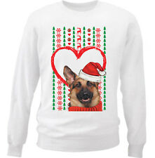 MERRY CHRISTMAS HEART PATTERN GERMAN SHEPHERD  - NEW WHITE COTTON SWEATSHIRT