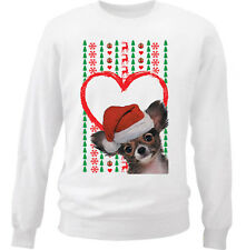 CHIHUAHUA PUPPY MERRY CHRISTMAS HEART PATTERN - NEW WHITE COTTON SWEATSHIRT