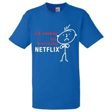 Mens I'd Rather Be Watching Netflix Royal Blue Tshirt Dad Grandad Boyfriend Gift