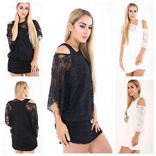 PLUS SIZE WOMENS LADIES FLORAL LACE OFF SHOULDER 2 IN 1 TUNIC BATWING TOP 14-26