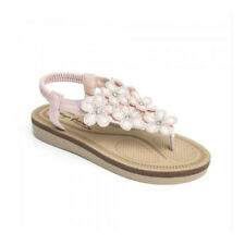 New Womens PINK EMBELLISHED FLOWERS T BAR FLAT Sandals Shoes Ladies Size 3-8 UK