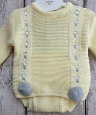 42d9dde44 Baby Boy Spanish Style Lemon and Grey Knitted Romper 2 Piece Set with Pom  Poms