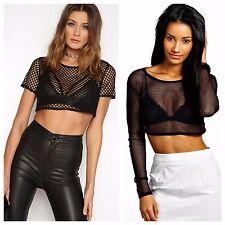WOMENS SHORT SLEEVE CROP TOP LADIES LONG SLEEVE FISHNET CROP TOP GIRLS T SHIRT
