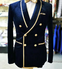 Double-Breasted Navy Velvet Wedding Groom Tuxedos Men Party Blazer Business Suit