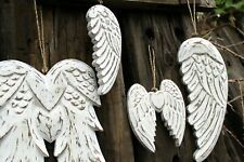 Shabby Chic Vintage Style Feather Wood Guardian Angel Wings Plaque Home Garden