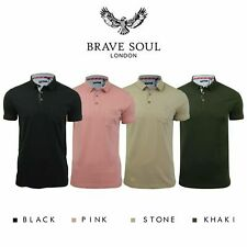 Brave Soul Mens Polo T Shirt 'Julius' Cotton Collared Short Sleeve Casual Top