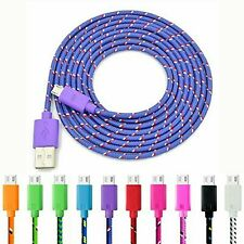 Braided USB Micro Data Sync & Charger Cble Lead For Andriod Samsung Mobiles UK
