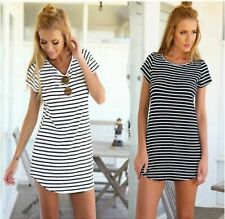 Women O Neck Loose Mini Short Dress Sleeve Striped Party Casual Beach Sundress