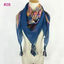 Women Scarf All Seasons Scarf With Pom Poms Floral Square Hijab Cotton