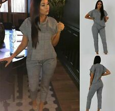 Womens Ladies Mono Check Boxy Lounge Wear Tracksuit Set Casual Comfy Two Piece
