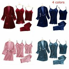 4 Pieces Night Suite Velvet Warm Winter Pajamas Sets Women Sexy Lace Comfort Bed