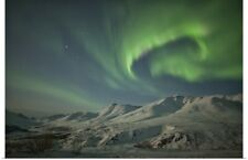 Poster Print Wall Art entitled Aurora borealis over the Klondike Valley in