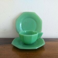 Vintage Jadeite Child Toy Doll Size Tea Cup and 2 Saucers Jade Green Milk Glass