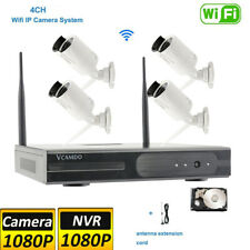 4CH CCTV Wireless Security Camera System 1080P NVR Outdoor HDD H.265 Recording