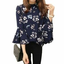 Autumn Floral Chiffon Blouse Women Tops Flare Sleeve Shirt Women Ladies Office