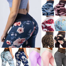 Womens Yoga Pants High Waisted Pockets Ruched Floral Gym Sports Leggings Workout