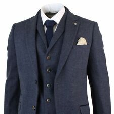 Navy Men's Suits Tweed Herringbone 3 Pieces Tuxedos Notch Lapel Grooms Wedding