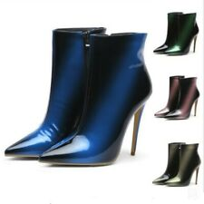 Women Splice Color Zip Ankle Boots Pointed Toe Stiletto Heel Boots Shoes Cosplay