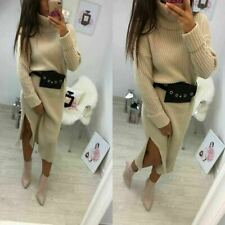 Womens Ladies Chunky Knitted Slit Roll Over High Neck Jumper Midi Party DressNew