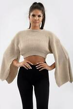 Womens Knitted Wide Slit Sleeve Crop Top Ladies Winter Wear Short Sweater