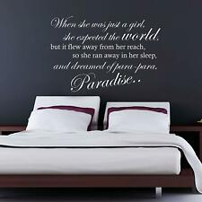 GRAVITY COLDPLAY EMBRACE VINYL WALL ART STICKER LYRICS